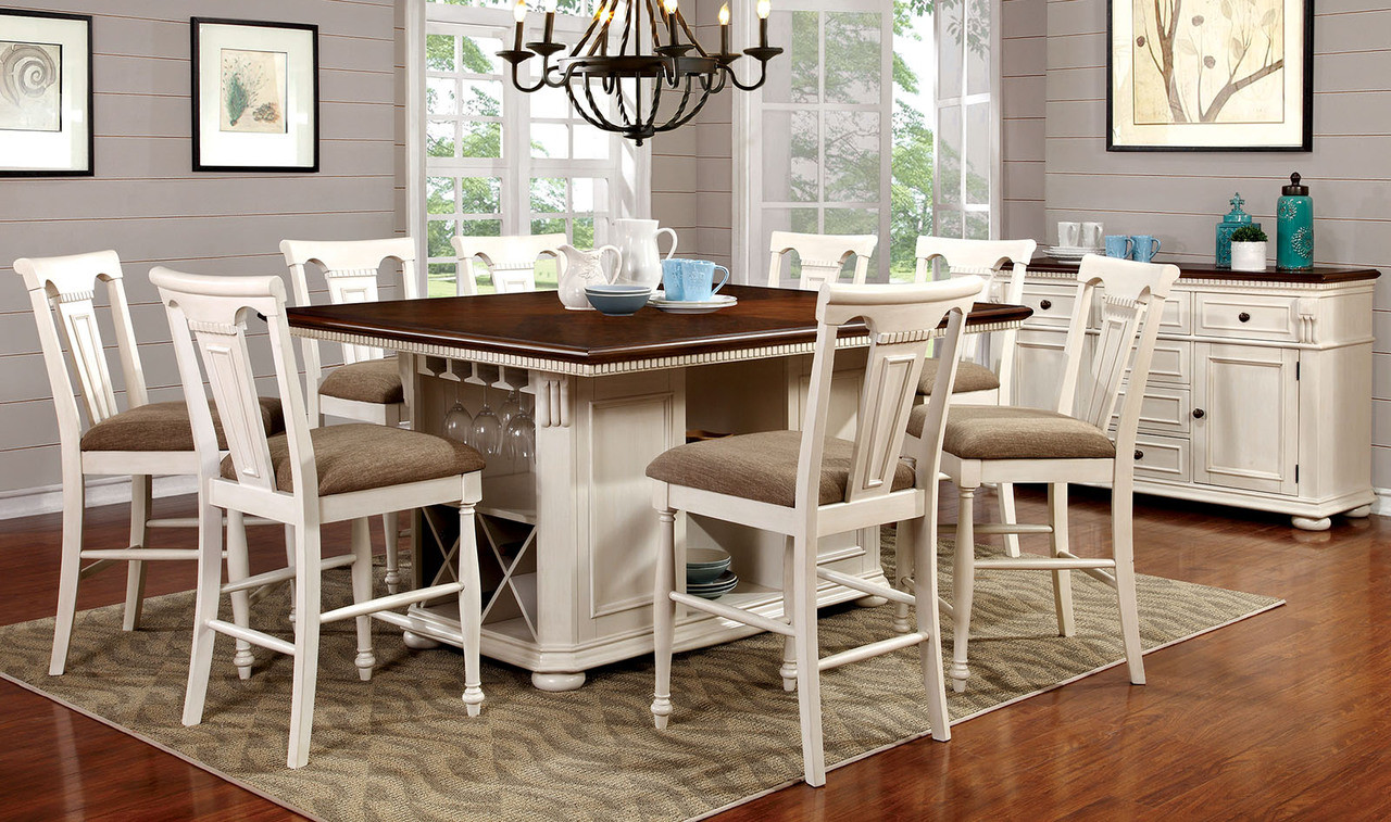 Admirable Fa3199Bc Sabrina 9 Pc Counter Height Dining Set Available In Cherry White And Cherry Black Machost Co Dining Chair Design Ideas Machostcouk