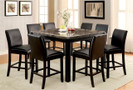 FA3823bk - Gladstone II Genuine Marble  9 pc. Counter Height Dining Set