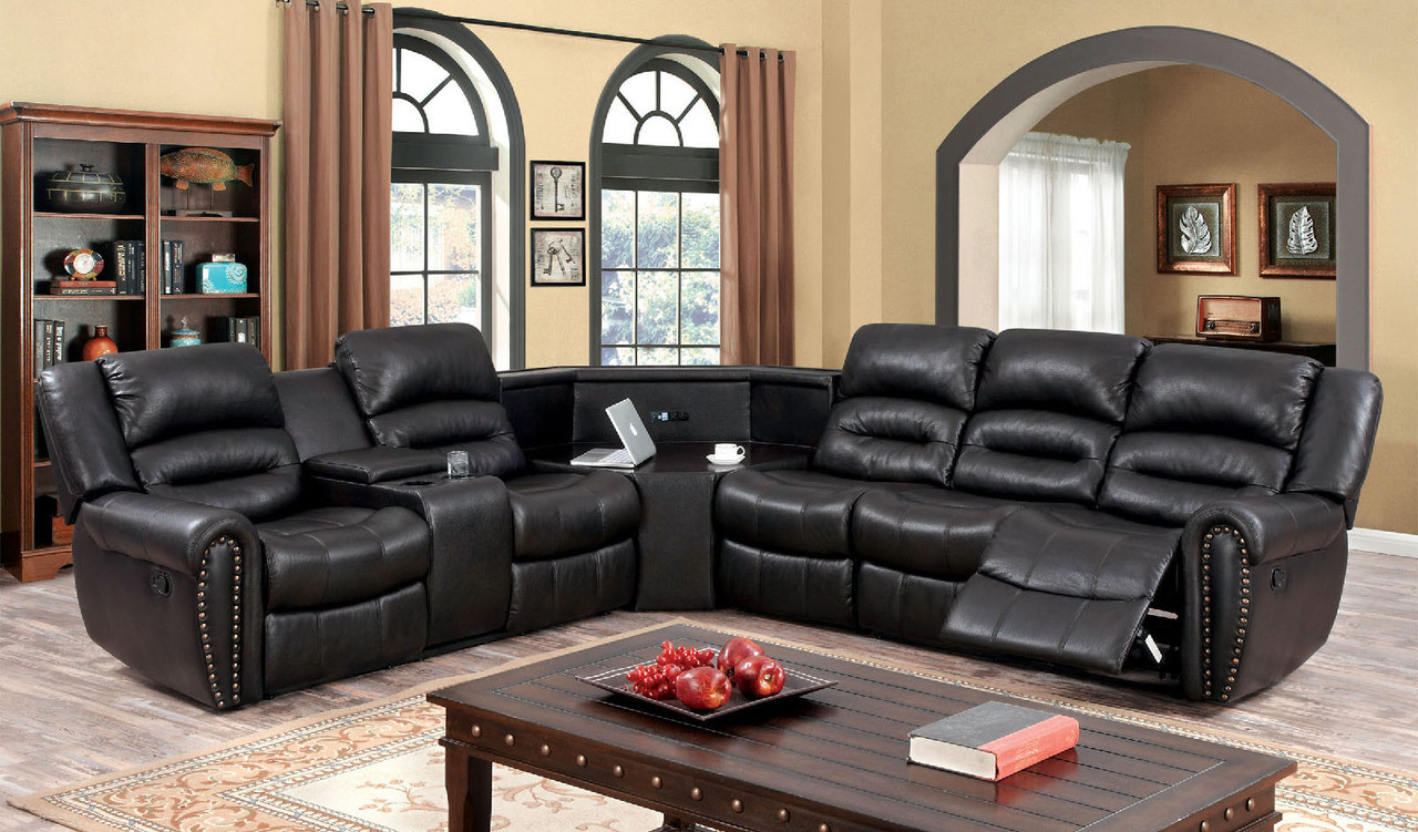 FA6987 - Wales Dark Brown Leatherette Sectional Sofa