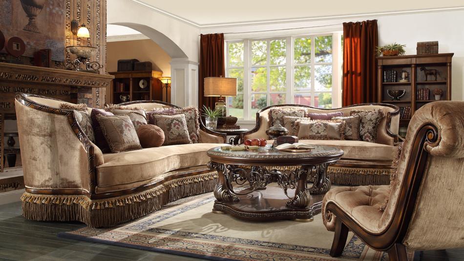 Hd1631 Donatella Formal Wood Trim Sofa And Love Seat