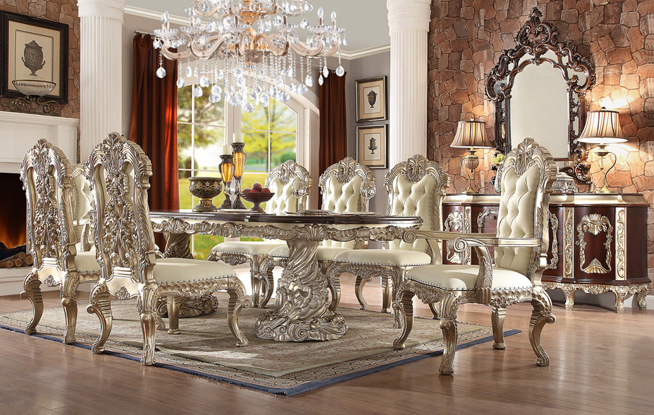 Hd8017 Viviana 9 Piece Formal Dining Room Set With Intricate Carvings