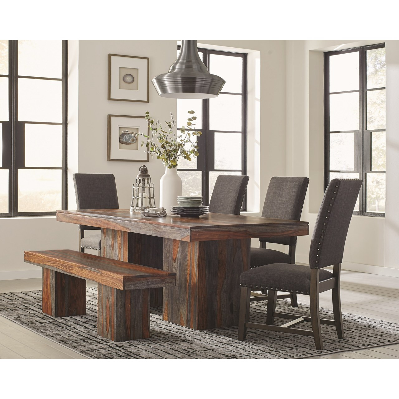 C107481 Binghamton Rustic Dining Table 6 Piece Set with Bench