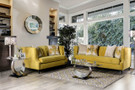 fa2216 Tegan Royal Yellow Plush Sofa And Love Seat