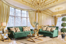 fa2271 Dyan Emerald Green Plush Sofa And Love Seat