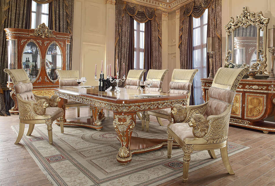 HD8024d Kamala Goddess Formal 9 Piece Dining Room Set