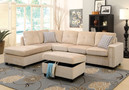 AC52705 - Sandie Beige Crush Velvet 2 Piece Sectional With Reversible Chaise