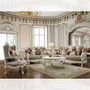 P1 90 - Ari Formal Plantation Cove White & Metallic Bright Gold Accent Sofa And Love Seat