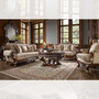 P1 562 - Adia Formal Custom Burl & Antique Silver Sofa And Love Seat