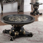 P1 328b - Isla Ebony Black with Antique Gold Formal Coffee Table
