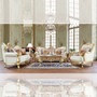 P1 93630 - Tobias Formal Elegant Leather and Wood Trim Sofa and Love Seat