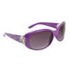 Rhinestone & Heart Accented Diamond Sunglasses DI510 Purple