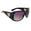 DI108 Rhinestone Sunglasses Black & Transparent Blue Frame