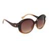 Cute Fashion Sunglasses 826 Duotone Brown Frame w/White Button