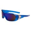 Xsportz™ Men's Sports Sunglasses Wholesale - Style # XS7000 Translucent Blue with Blue Flash Mirror Lens