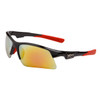 Men's Sport Sunglasses by the Dozen - Style # XS139 Black w/Red Flash Mirror Lens, Temple Tips & Nose Pads