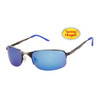 Xsportz™ Metal Frame Sports Sunglasses - Style # XS565 Gun Metal w/Blue Temple Tips & Blue Flash Mirror