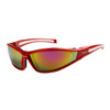 Xsportz™ Wholesale Sport Sunglasses by the Dozen - Style # XS29 Red/White with Gold Flash Mirror
