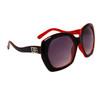 Vintage Big Lens Designer Eyewear DE104 | Two Toned Black & Red Frame Colors