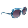 Ladies Large Frame Sunglasses 23614 Transparent Blue Frame w/Silver Accents