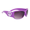 Cute Fashion Sunglasses w/Heart Shaped Peace Signs 23713 Lavender Frame w/White Heart
