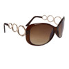 Designer Sunglasses Wholesale 24716 Gloss Brown Frame Color w/Gold