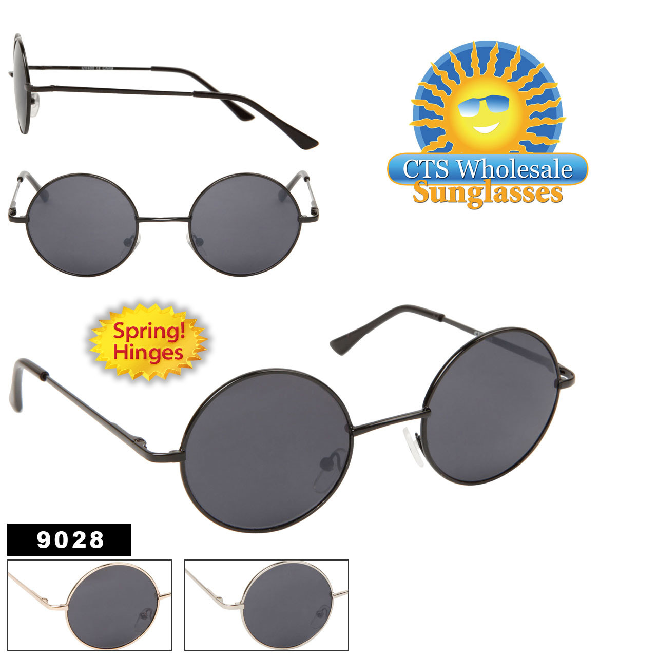 John Lennon Inspired Sunglasses Wholesale - Style #9028 Spring Hinge (Assorted Colors) (12 pcs.)
