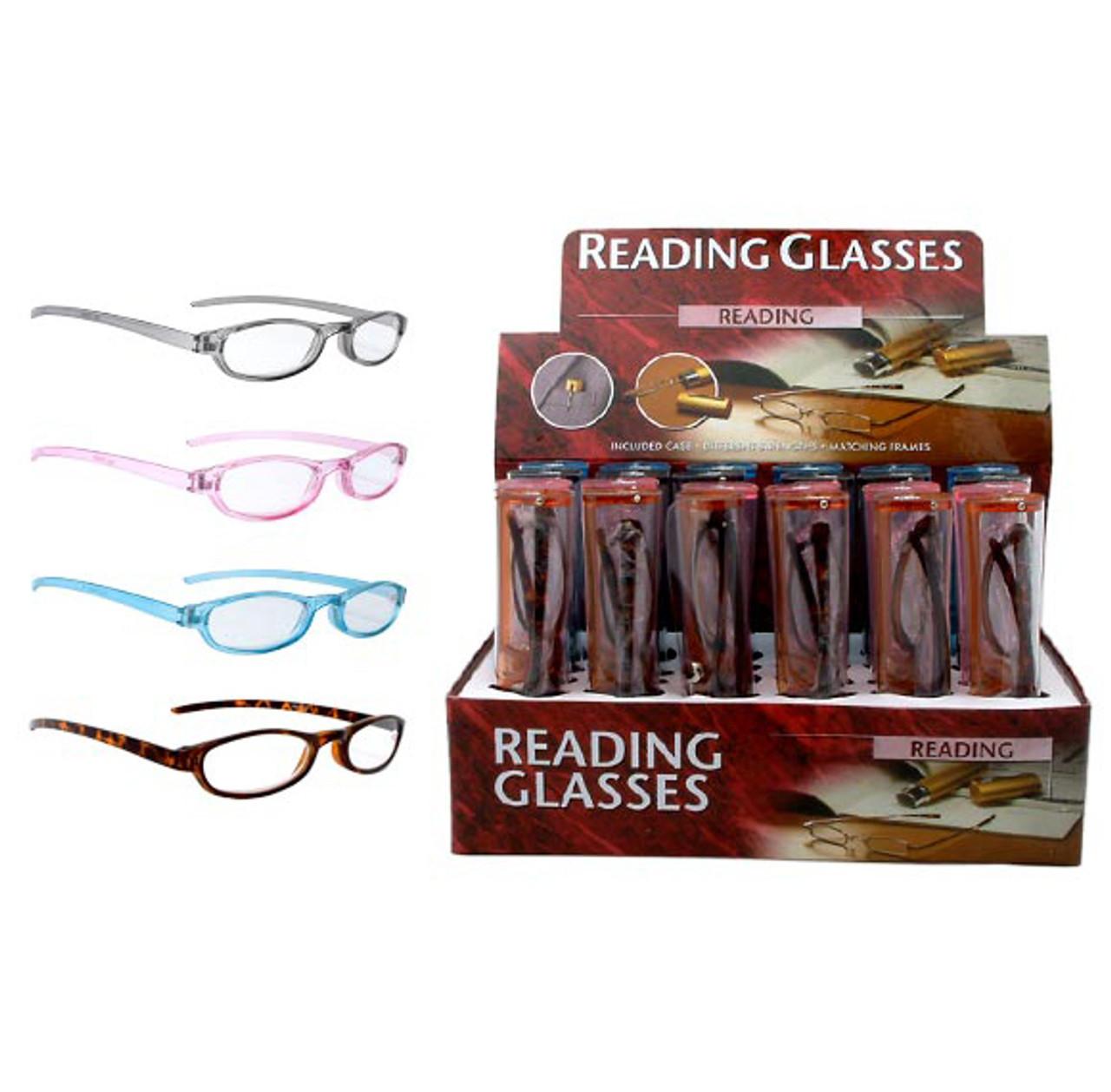 Reading Glasses - R723 ~ Assorted frame colors & lens powers +1.00 – +3.00 W/ Plastic Frames (24 pcs.)