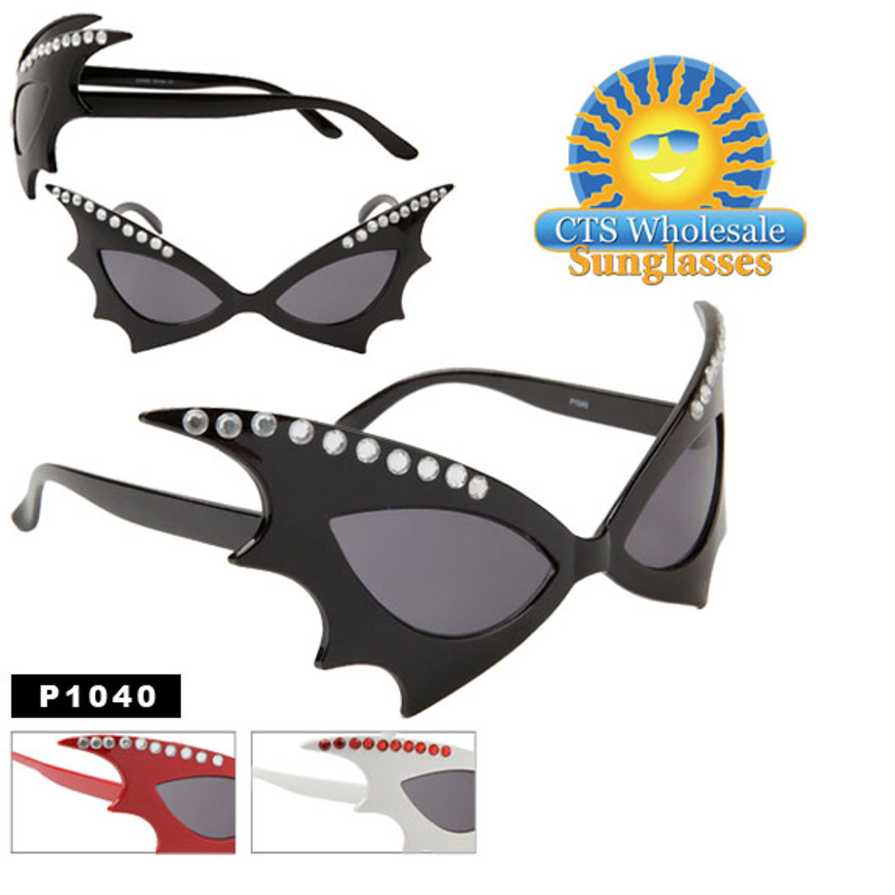 """Party Glasses """"Bat Woman""""  ~ P1040 (12 pcs.) With Rhinestones! (Assorted Colors)"""