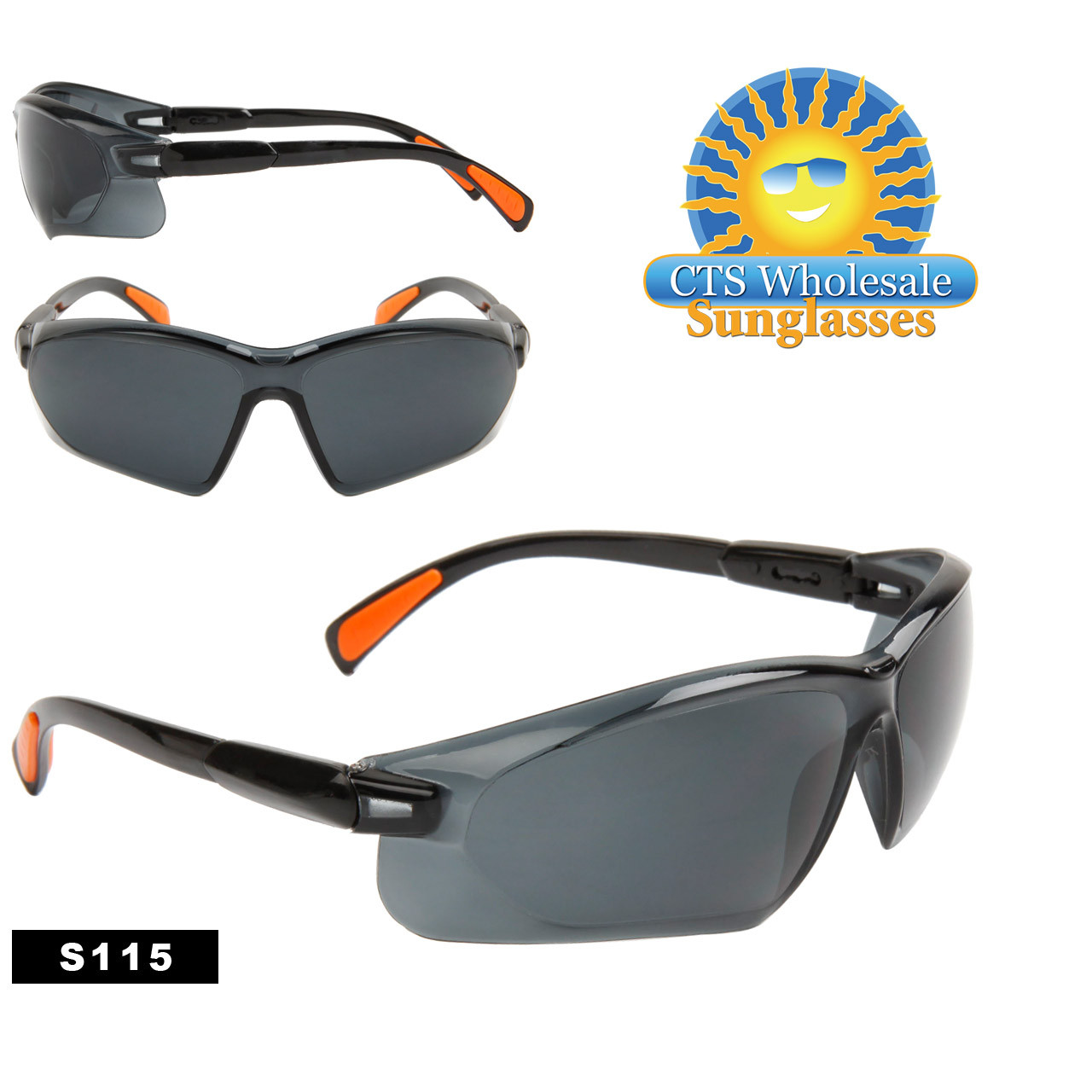 Tinted Lens Safety Glasses with Rubber Tip Adjustable Arms