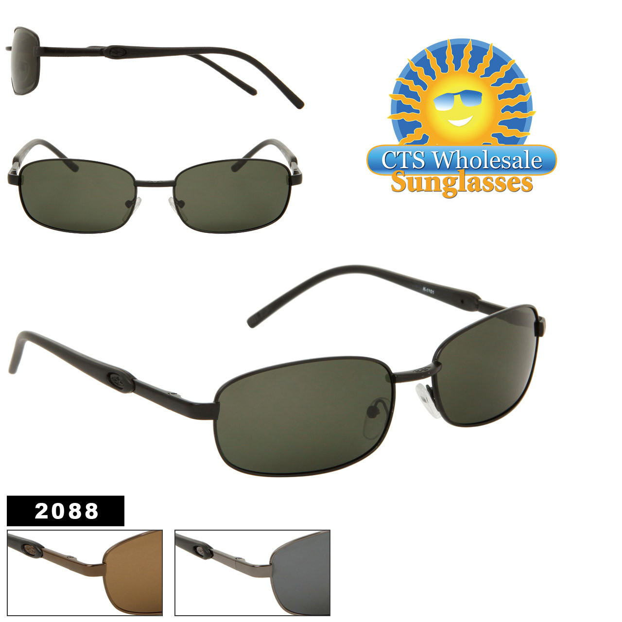 Polarized Wholesale Sunglasses - Style # 2088 Lenses Made in USA! (Assorted Colors) (12 pcs.)