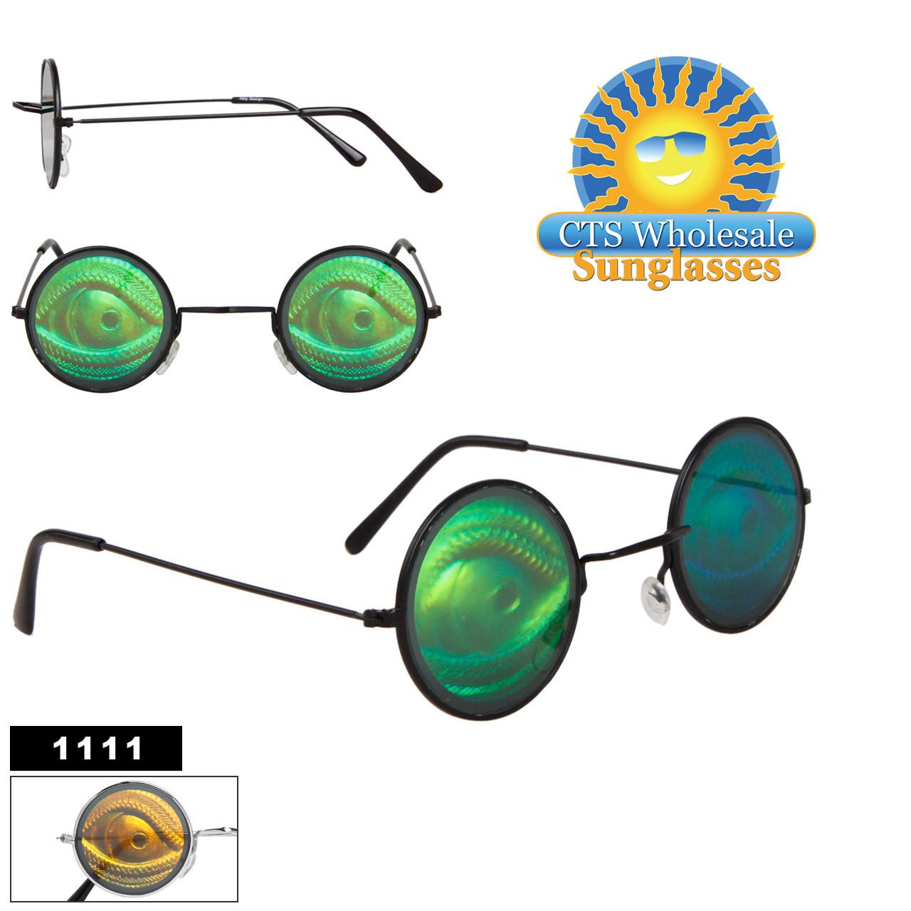 Side Looking Reptile Eyeball Hologram Sunglasses 1111