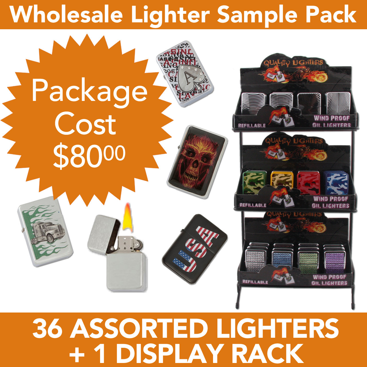 36 Assorted Lighters | Display Stand | Display Boxes Included