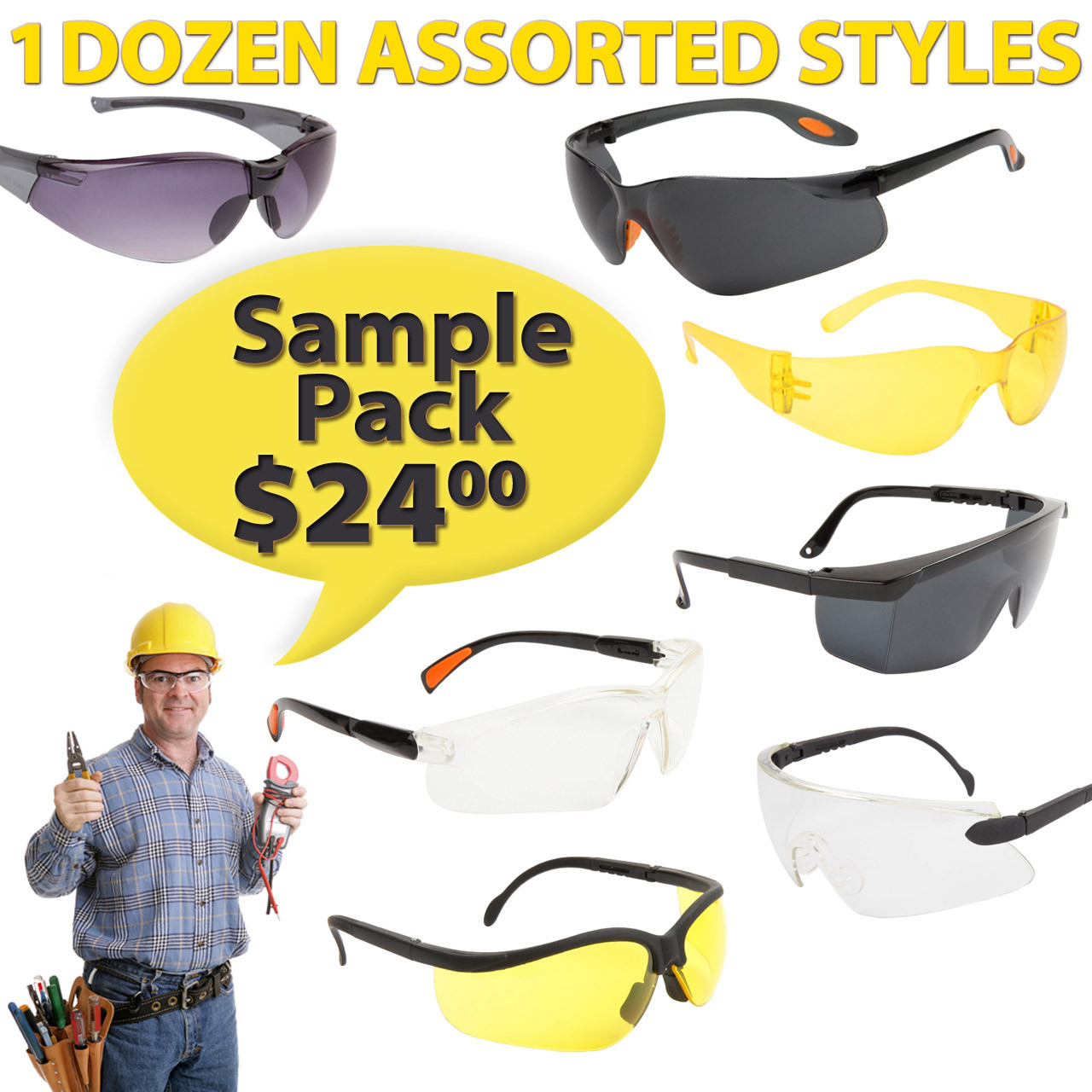 Safety Glasses Sample Pack ASG1 (Assorted Colors) (12 pcs.)