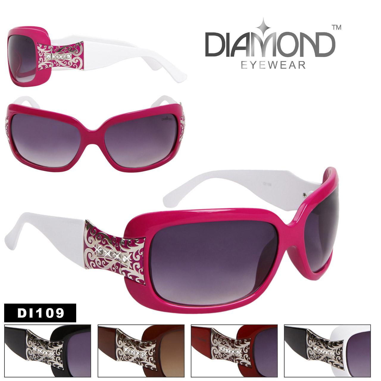Diamond Eyewear DI109 Rhinestone Fashion Sunglasses (Assorted Colors) (12 pcs.)