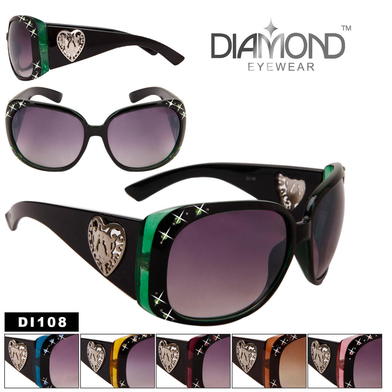 Wholesale Rhinestone Sunglasses DI108 Diamond Eyewear™ (Assorted Colors) (12 pcs.)