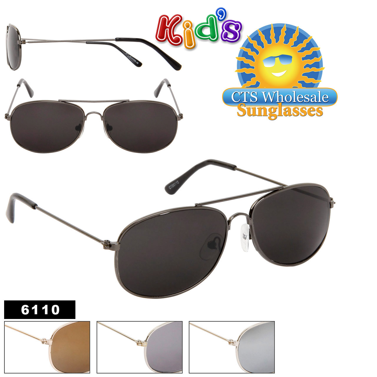 Wholesale Kid's Aviators - Style #6110 (Assorted Colors) (12 pcs.)
