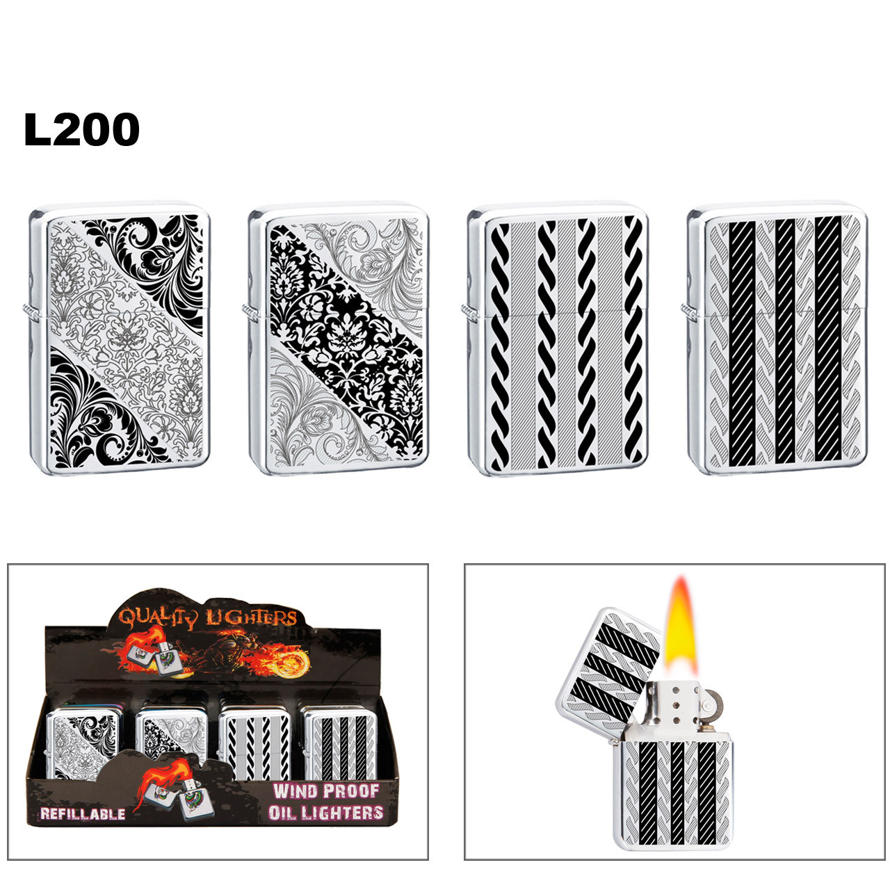 Wholesale Lighters ~ Lighter Fluid NOT Included L200 (12 pcs.) Graphic Patterns on Polished Chrome