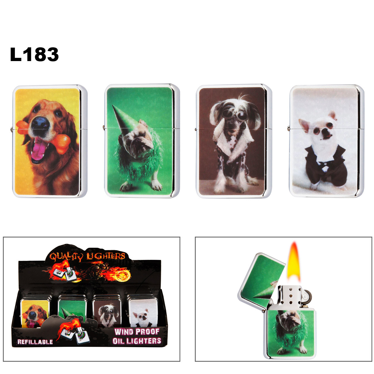 Wholesale Oil Lighters ~ Lighter Fluid NOT Included L183 (12 pcs.) Assorted Dogs