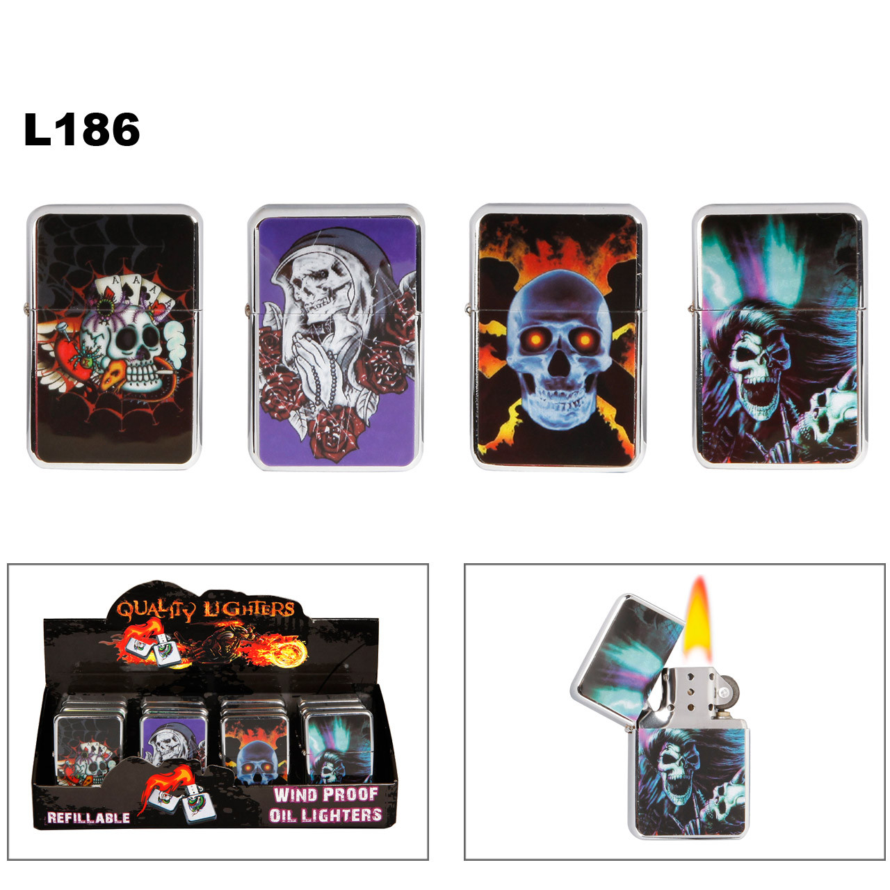 L186 Assorted Skull Lighters