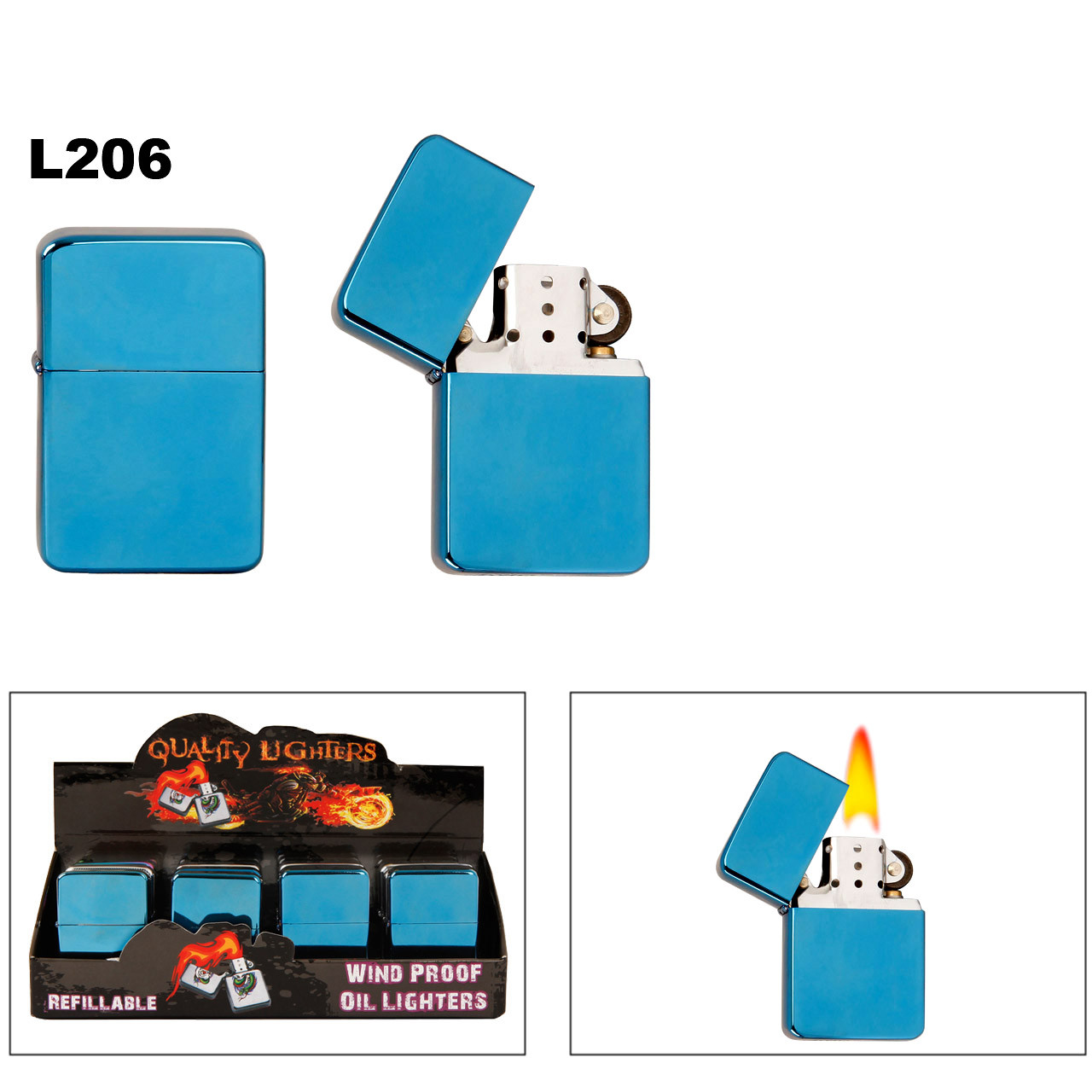 Metallic Blue Finish ~ Lighter Fluid NOT Included L206 (12 pcs.)