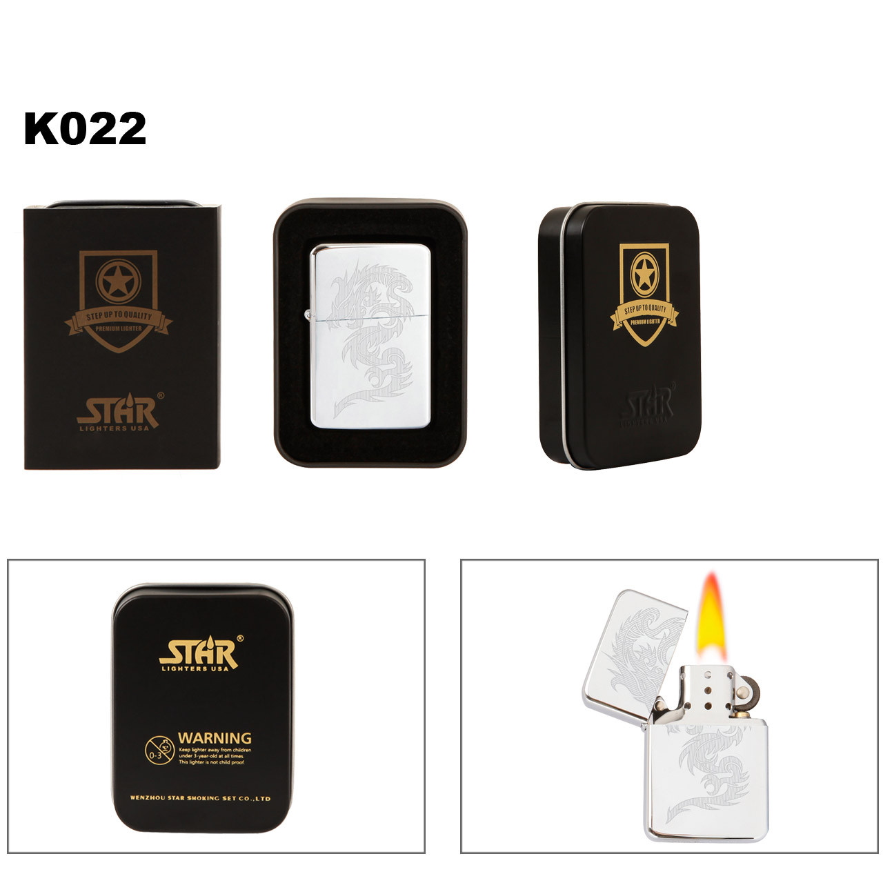 Wholesale Brass Lighter ~ Lighter Fluid NOT Included K022 (1 pc.) Etched Dragon on Polished Chrome Finish