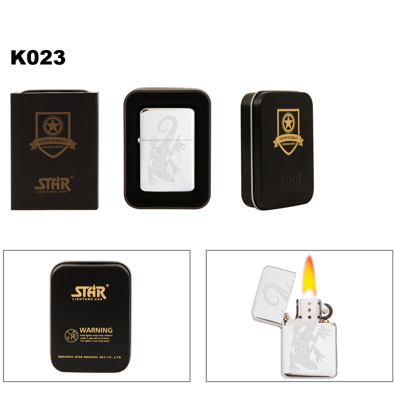Brass Lighter ~ Lighter Fluid NOT Included K023 (1 pc.) Etched Lizard on Polished Chrome Finish