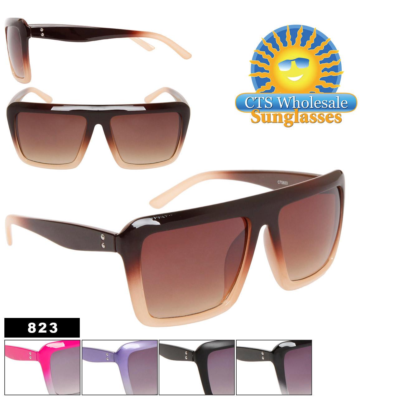 Wholesale Sunglasses 823 Square Frames (Assorted Colors) (12 pcs.)