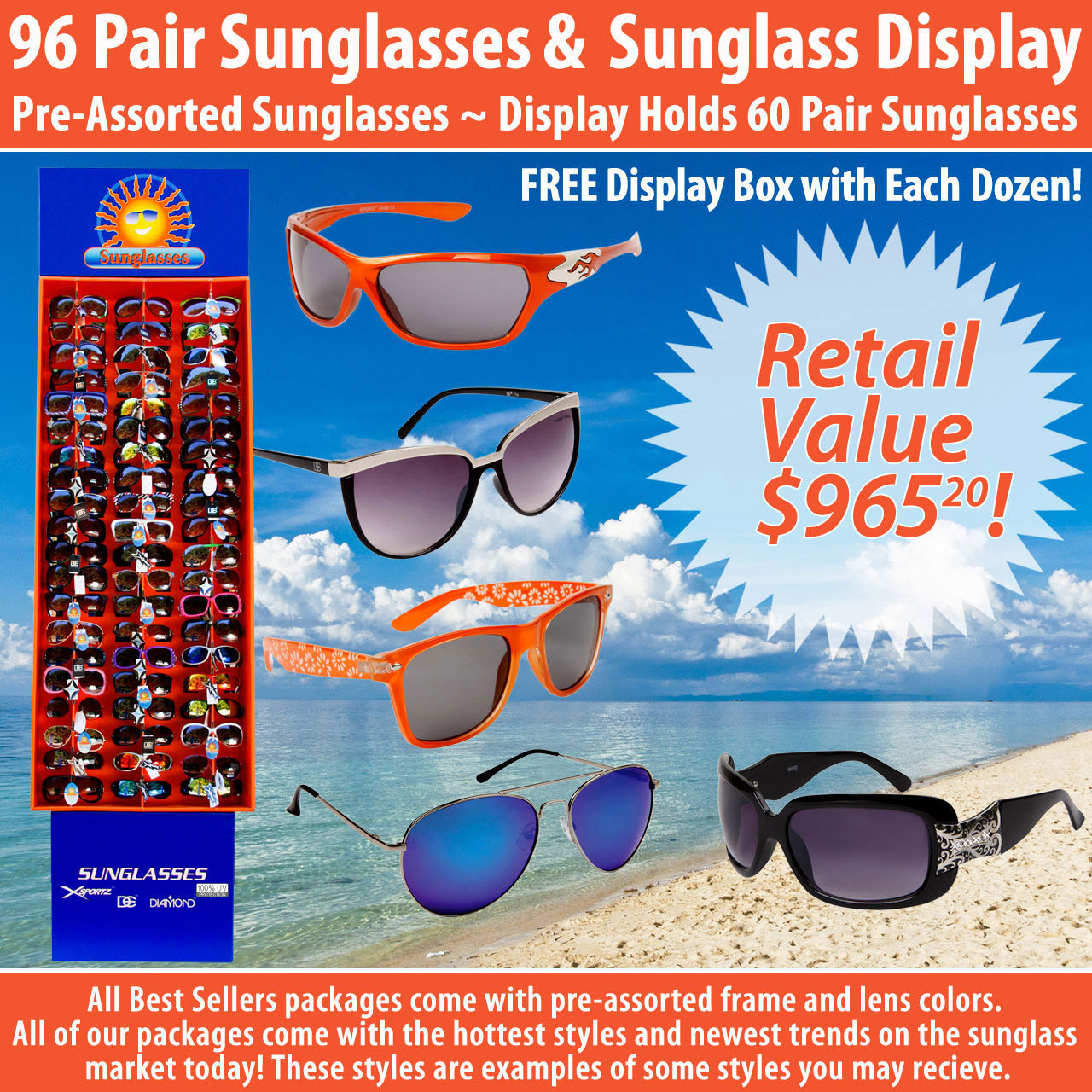 Package Deal SPA15 ~ 96 Pair Sunglasses & Display 7003 (96 pcs.) Display Holds 60 Pair