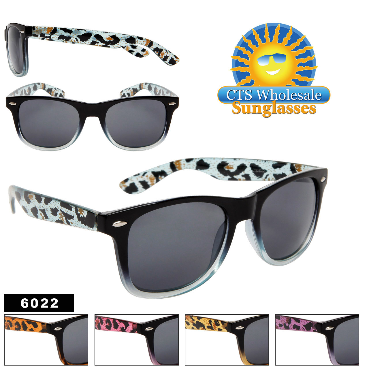 California Classics Sunglasses 6022 Animal Print Patterns (Assorted Colors) (12 pcs.)