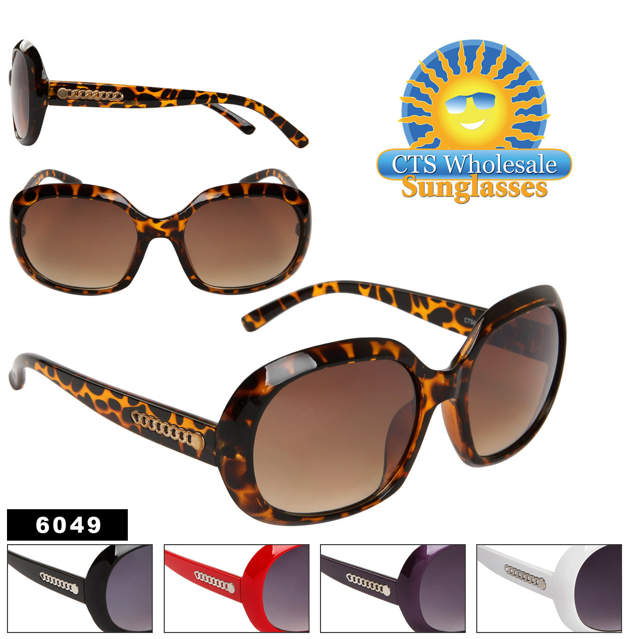 Fashion Sunglasses 6049 Wholesale Sunglasses (Assorted Colors) (12 pcs.)