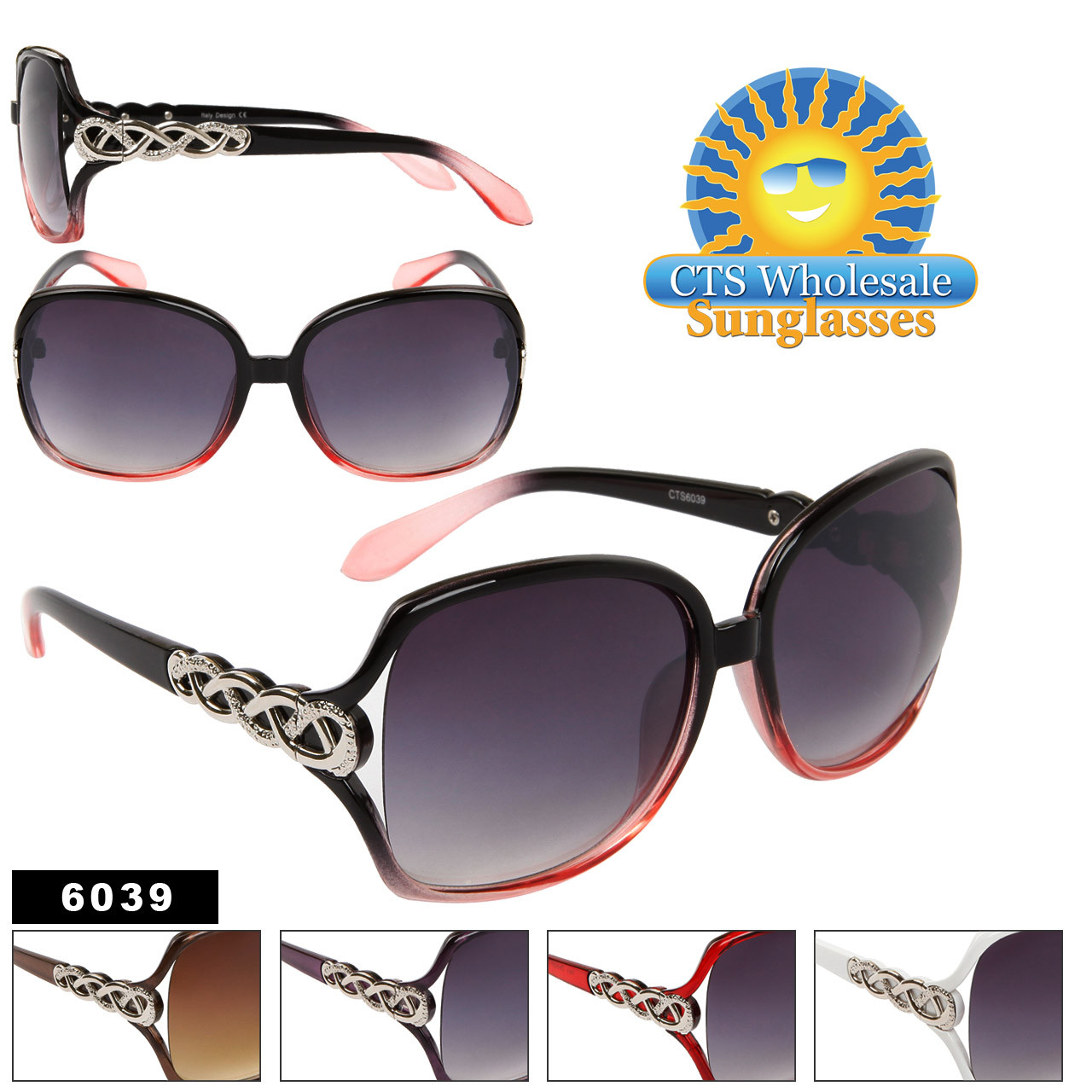 Wholesale Women's Fashion Sunglasses 6039 (Assorted Colors) (12 pcs.)