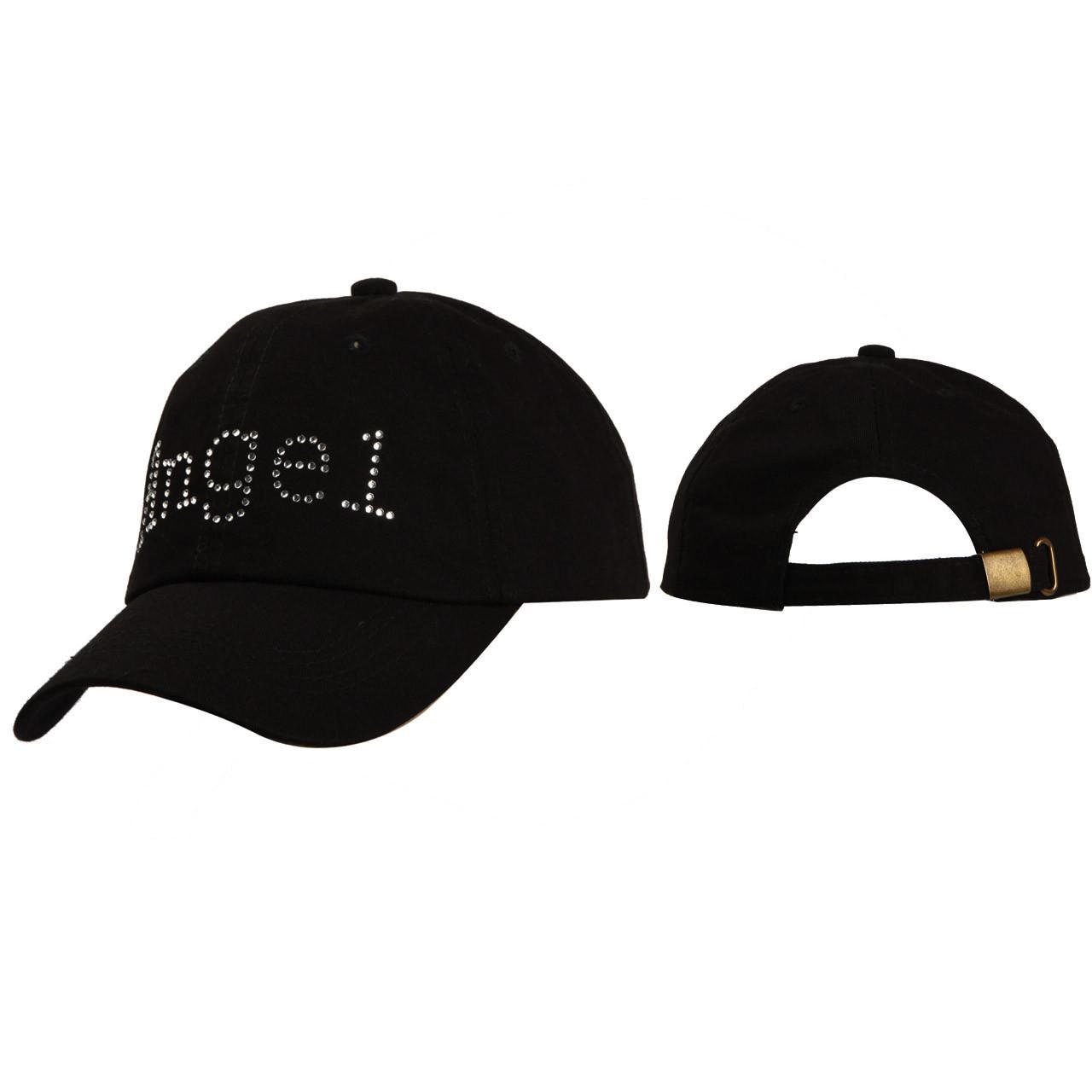 Women's Caps Wholesale C138 ~ Angel in Rhinestones ~ Black