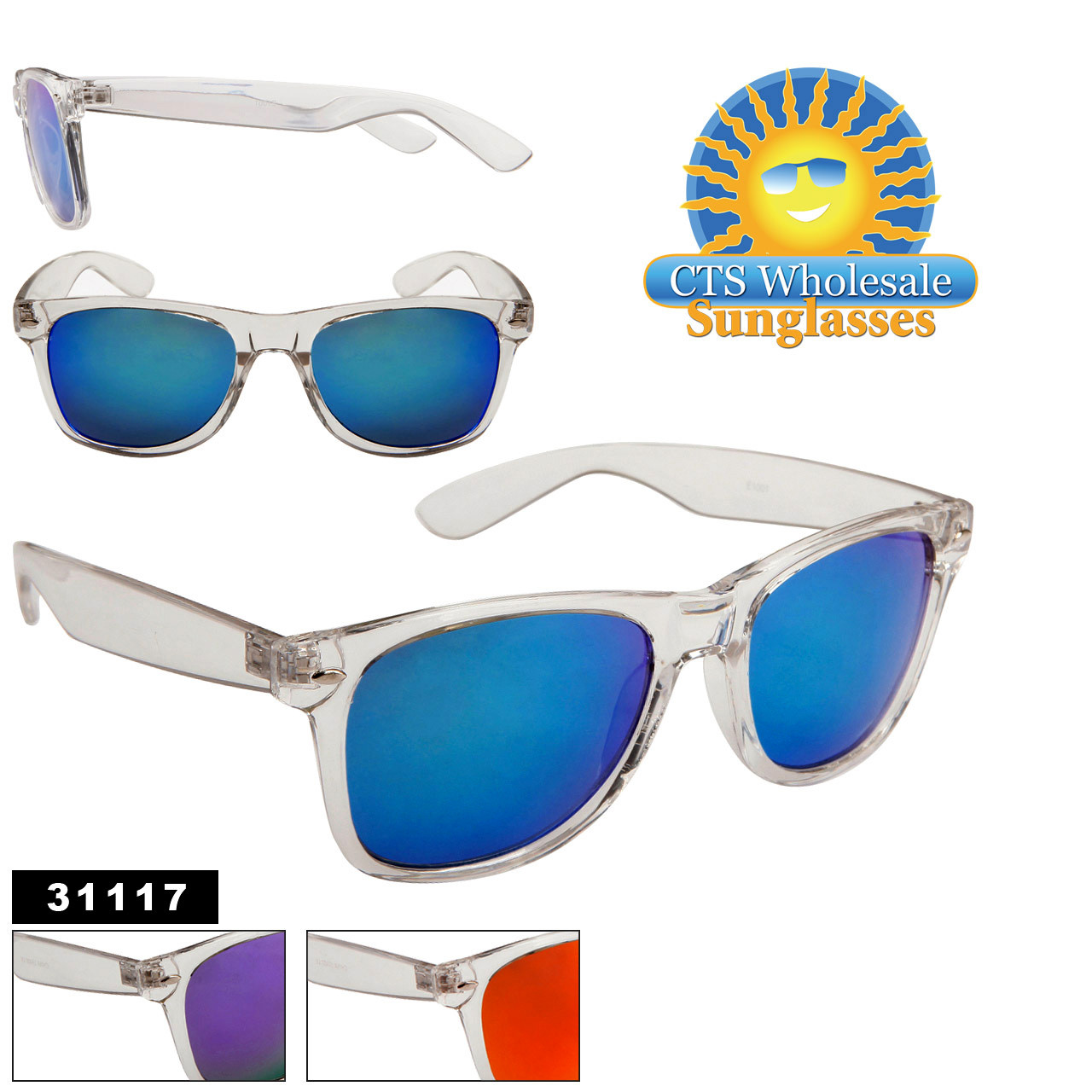 Clear Frame Mirrored Sunglasses Wholesale- Style #31117 (Assorted Colors) (12 pcs.)