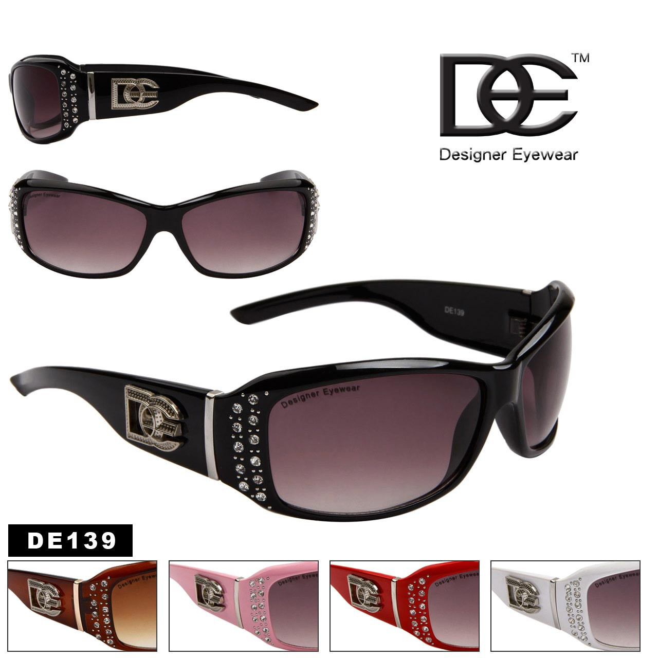 Designer Eyewear™ DE139 Rhinestone Sunglasses (Assorted Colors) (12 pcs.)